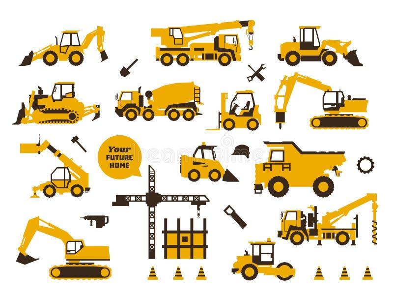 Stor uppsättning av symbolsbyggnation Byggande maskineri, special transport tung utrustning Lastbilar kranar, traktorer royaltyfri illustrationer