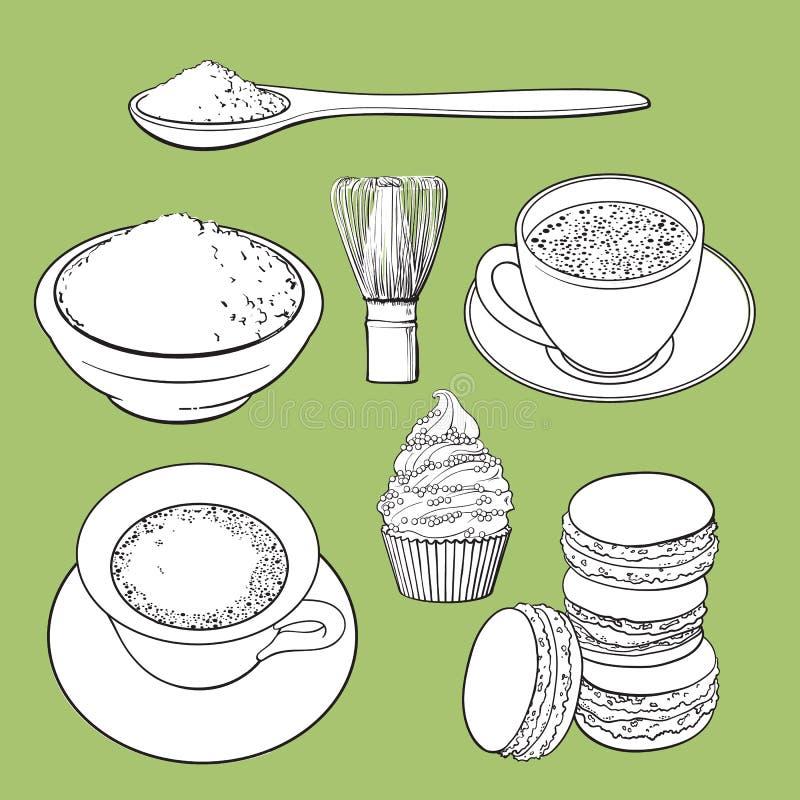 Stor uppsättning av te, mat och tillbehör för matcha grönt royaltyfri illustrationer
