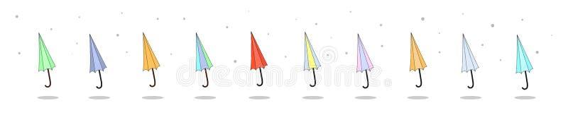Stor uppsättning av tio färgrika ljusa plana symboler av stängda vikta paraplyer Säsongsbetonad illustration för vektor med regnd stock illustrationer