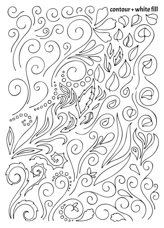 Stor uppsättning av utdragna tracerybeståndsdelar för hand, blom- naturmodell med pärlor, sidor och pärlor stock illustrationer