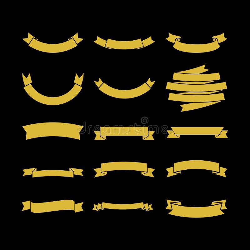 Stor uppsättning av vektorband, samling av designbeståndsdelar för att skapa logoer stock illustrationer