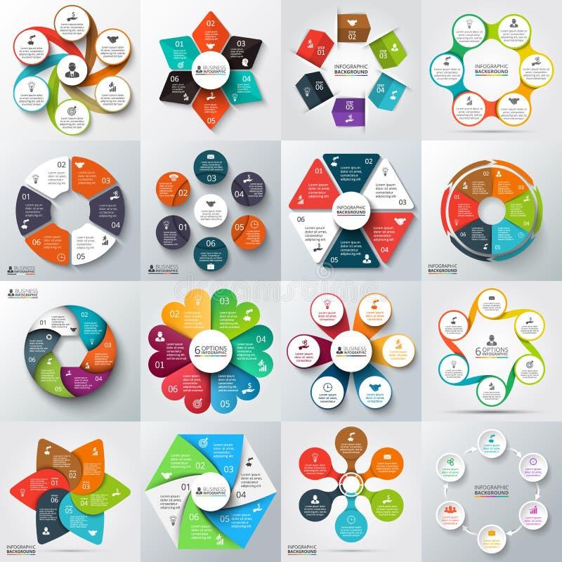 Stor uppsättning av vektorbeståndsdelar för infographic vektor illustrationer