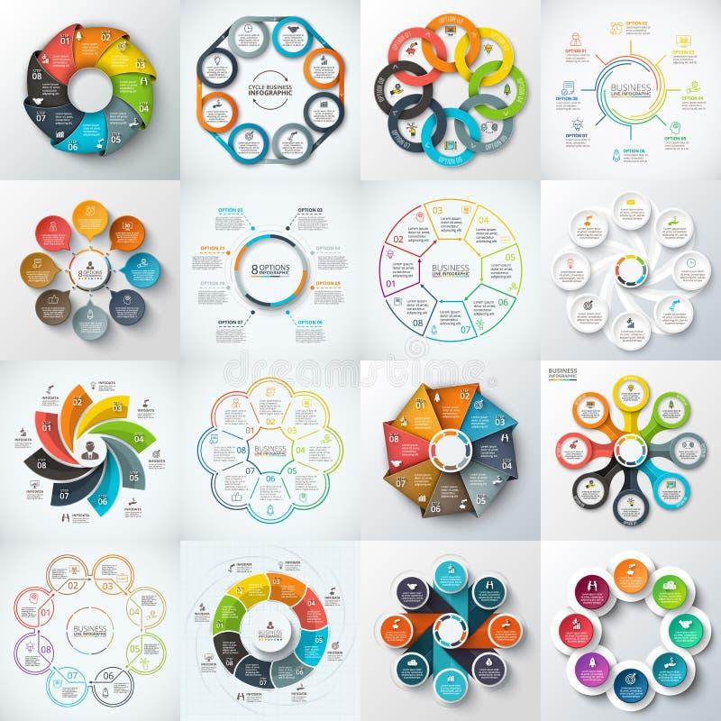 Stor uppsättning av vektorbeståndsdelar för infographic stock illustrationer