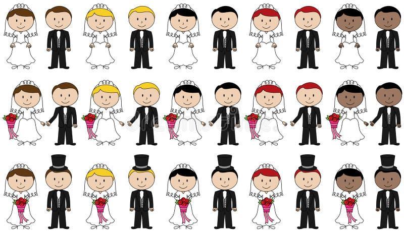 Stor uppsättning av vektorbruden och brudgummen Stick Figures royaltyfri illustrationer