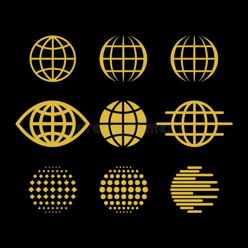 Stor uppsättning av vektorjordklot, samling av designbeståndsdelar för att skapa logoer royaltyfri illustrationer