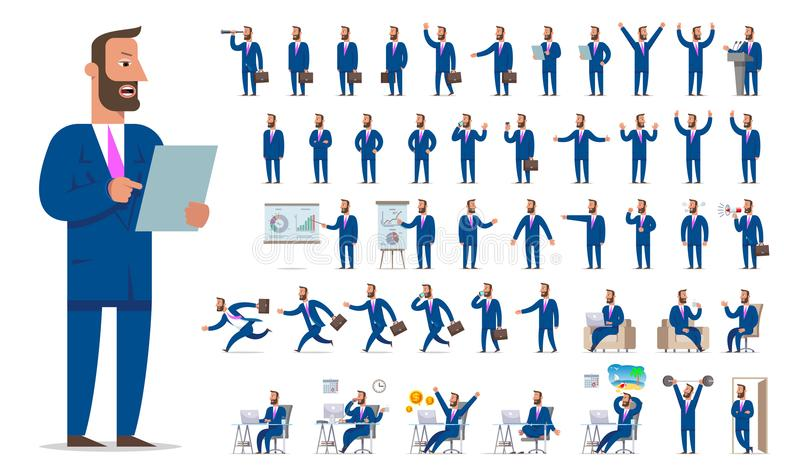 Stor uppsättning för affärsman- eller chefteckenskapelse Olikt tävla vektor illustrationer