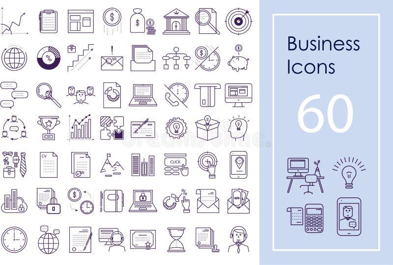Stor uppsättning för affärssymbol Vektoröversiktssymboler för website, apps och presentationer stock illustrationer