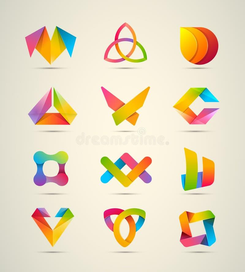 stor uppsättning för 12 beståndsdelar för vektordesignlogo Symboler för företags identitet vektor illustrationer