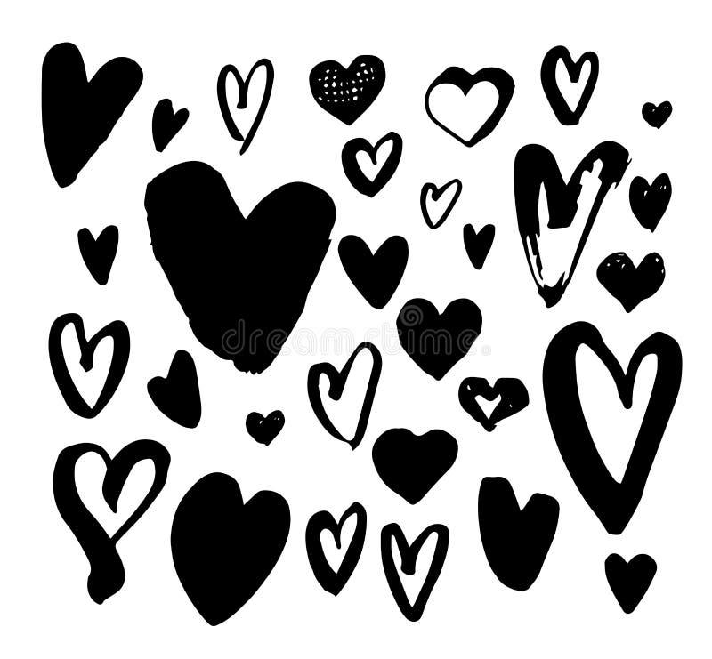 Stor uppsättning för borstepennhjärta Olik hjärtasamling för handskrift royaltyfri illustrationer