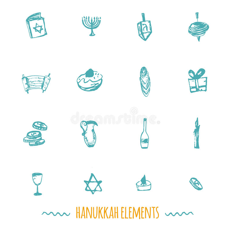 Stor uppsättning för Chanukkahsymboler i hand dragen stil inklusive menoror vektor illustrationer