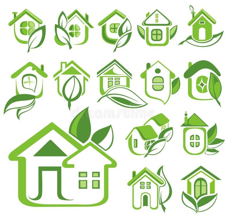 Uppsättning för ekologihussymbol royaltyfri illustrationer