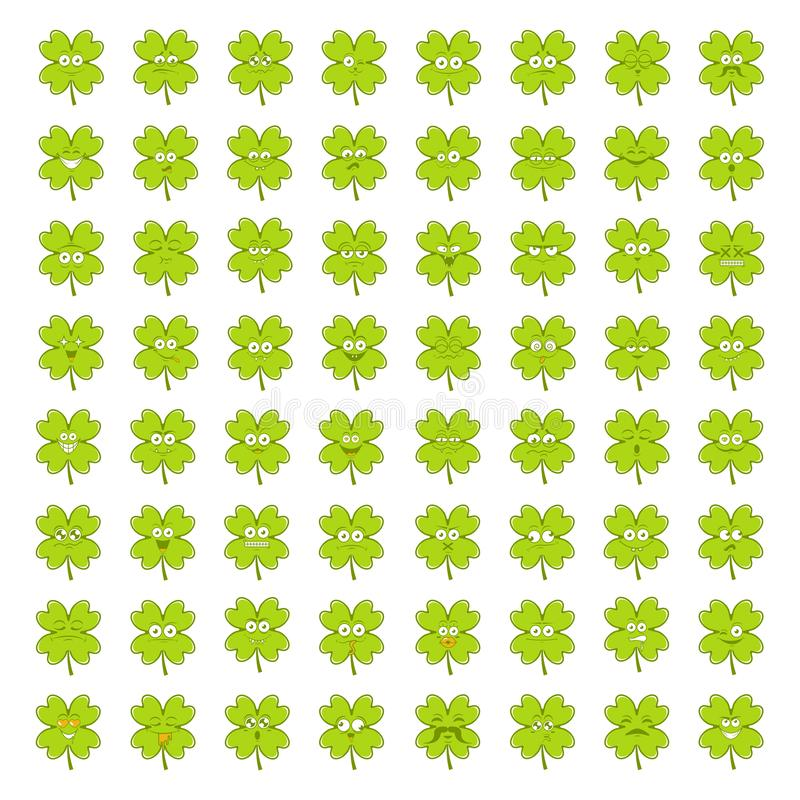 Stor uppsättning för grön lycklig irländsk växt av släktet Trifolium av gulliga lyckliga smiley sinnesrörelser för stPatricks dag arkivfoto