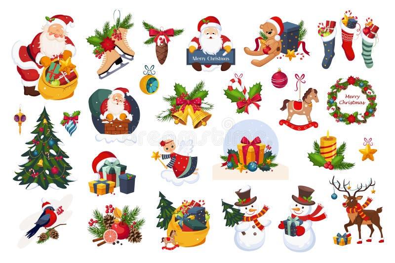 Stor uppsättning för jul, för feriegarnering för nytt år illustrationer för vektor för beståndsdelar på en vit bakgrund royaltyfri illustrationer