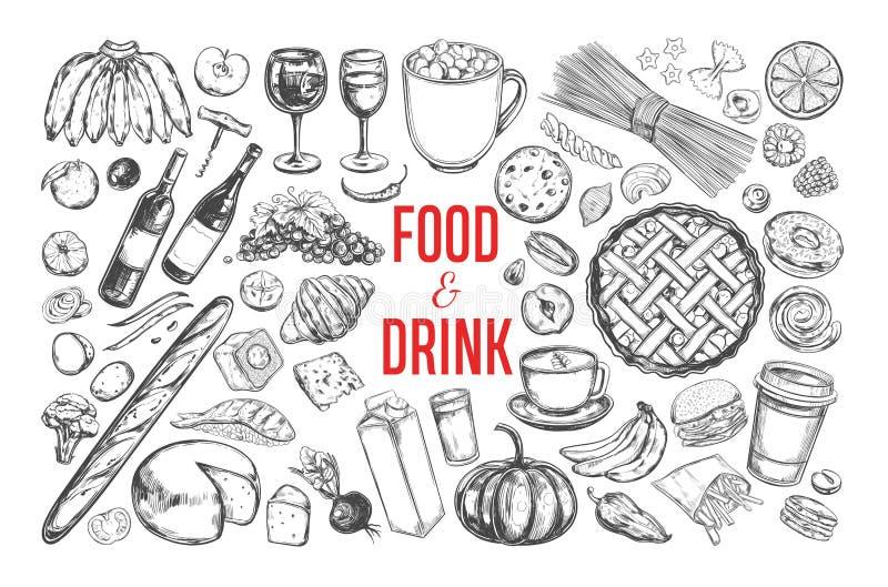 Stor uppsättning 1 för mat- och drinkvektor vektor illustrationer