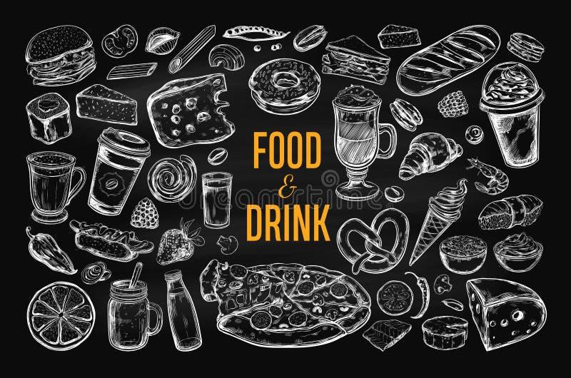 Stor uppsättning 2 för mat- och drinkvektor stock illustrationer