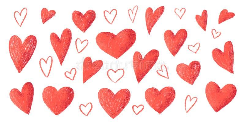Stor uppsättning för röda för blyertspennaslaglängdtextur som för hand utdragna för stil för vektor för valentin hjärtor för dag  stock illustrationer
