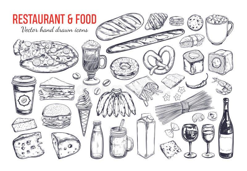 Stor uppsättning 2 för restaurang- och matvektor stock illustrationer