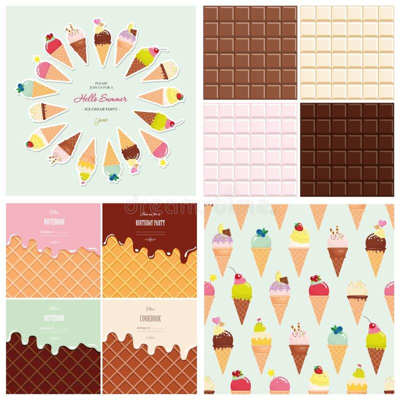 Stor uppsättning för sötsaker Sömlös modell för glasskotte Choklad- och rånbakgrundssamling Hello sommaraffisch stock illustrationer