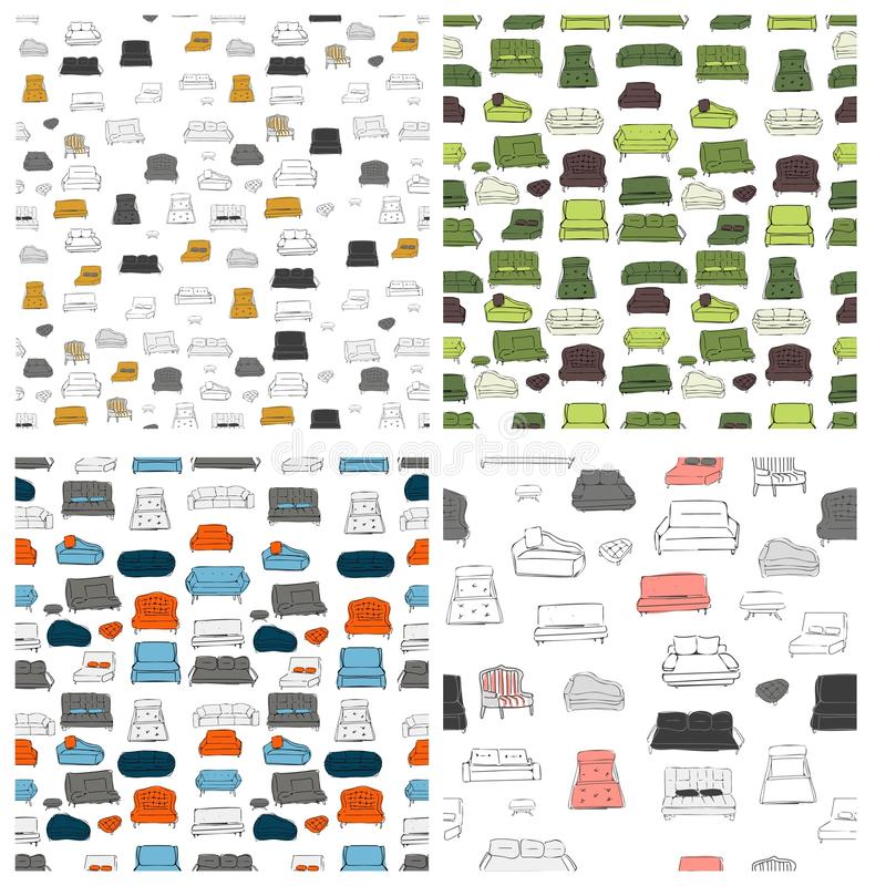 Stor uppsättning för soffa Vecthand dragen illustration Inreprojekt royaltyfri illustrationer