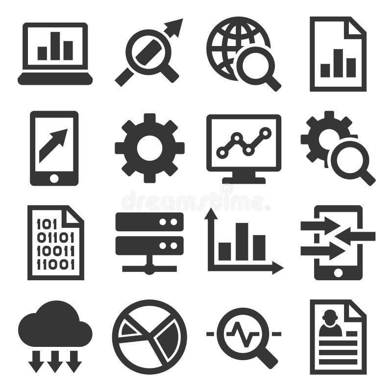 Stor uppsättning för symboler för dataanalys vektor stock illustrationer