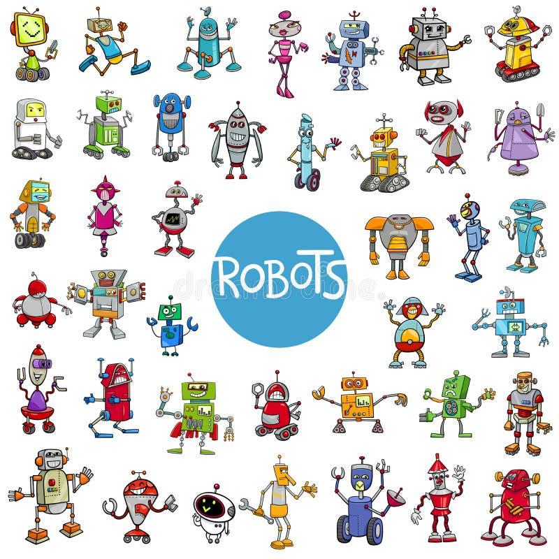 Stor uppsättning för tecknad filmrobottecken royaltyfri illustrationer
