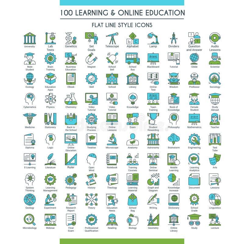 Stor uppsättning för utbildningssymboler royaltyfri illustrationer