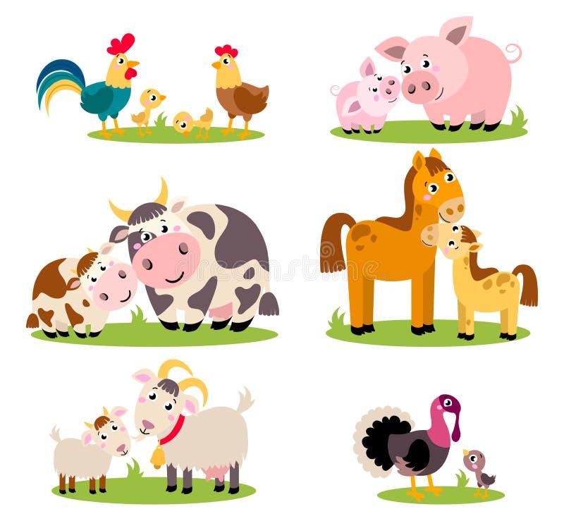 Stor uppsättning isolerade lantgårdfåglar, djur Roliga djur för vektorsamling, mödrar och deras barn stock illustrationer
