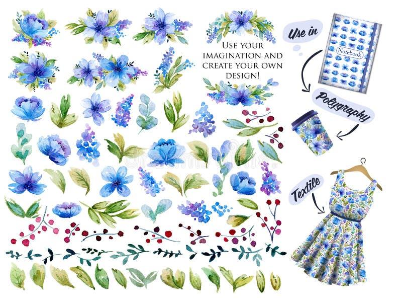Stor uppsättning med blåa vattenfärgblommor, sidor och blom- elemen vektor illustrationer