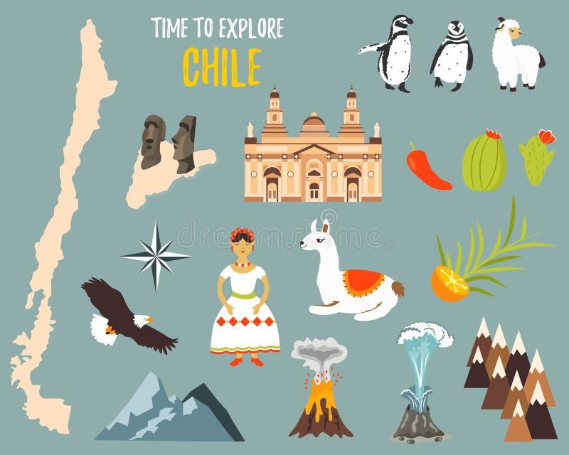 Stor uppsättning med gränsmärken, djur, symboler av Chile stock illustrationer