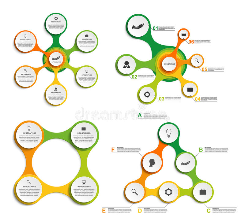 Stor uppsättning som är infographic i form av metaboliskt bakgrundsdesignelement fyra vita snowflakes stock illustrationer