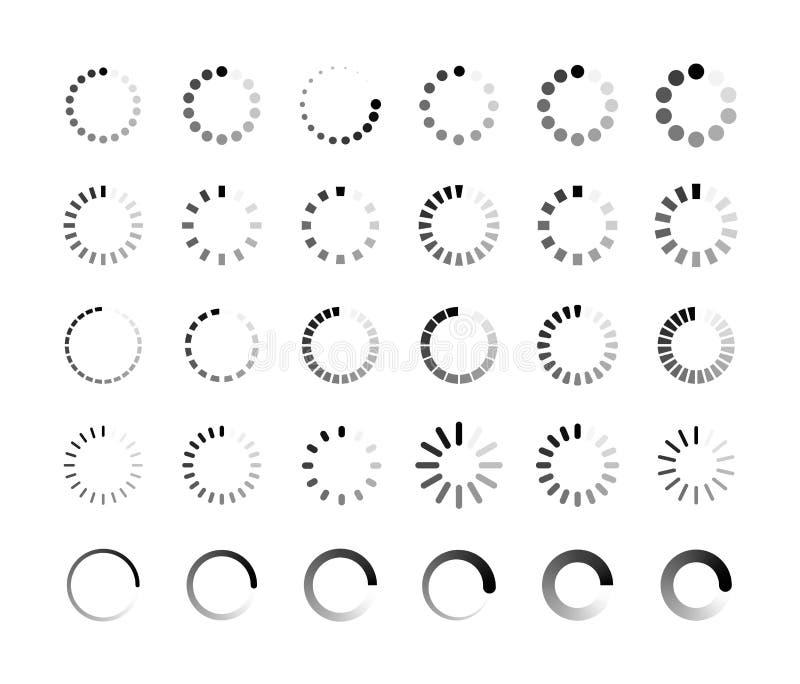 Stor uppsättning som laddar symbolen p?fyllning p?fyllning Framstegstången för laddar upp nedladdningrundaprocess Website som lad royaltyfri illustrationer