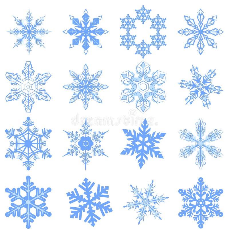 Stor uppsättningsnöflinga Flake av snow stock illustrationer