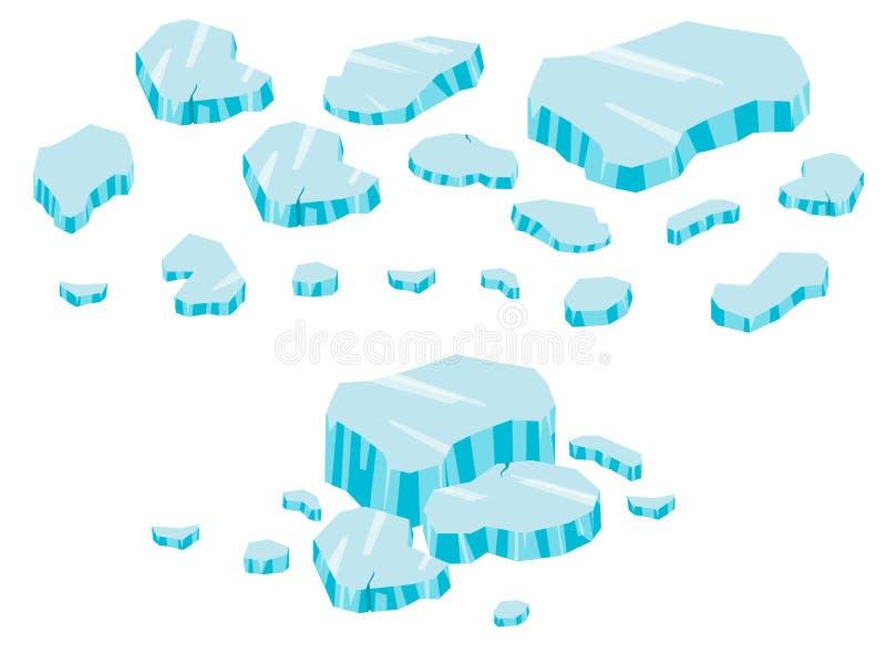Stor uppsättningtecknad film för isberg Is och isberg i isometrisk 3d sänker stil Uppsättning av det olika iskvarteret Isolerad v vektor illustrationer