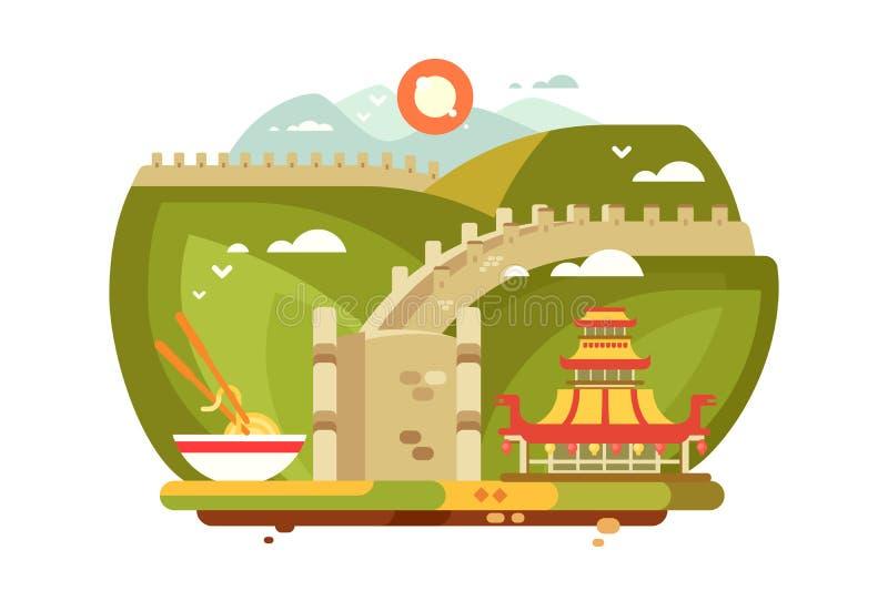Stor vägg av det Kina landskapet för loppdesign vektor illustrationer