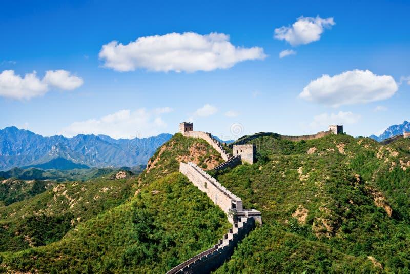 Stor vägg av Kina i sommardagen, Jinshanling arkivfoton