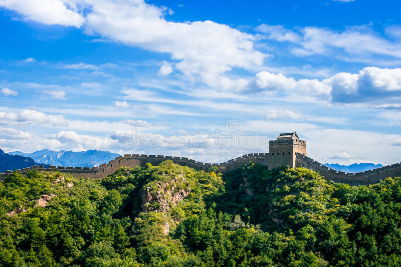 Stor vägg av Kina i sommardagen, Jinshanling avsnitt, Peking fotografering för bildbyråer