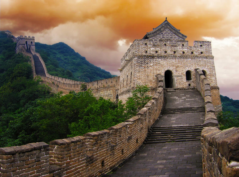 stor vägg för porslin royaltyfria bilder