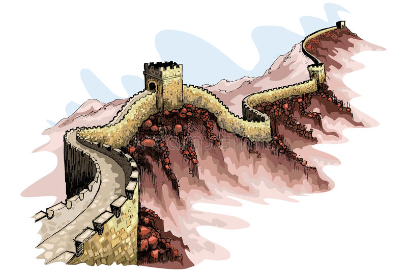 stor vägg för porslin stock illustrationer