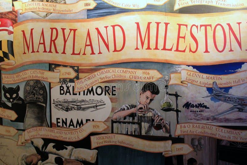 Stor väggmålning på väggen som visar många uppfinningar i staden, Baltimore museum av bransch, Maryland, 2017 royaltyfri foto