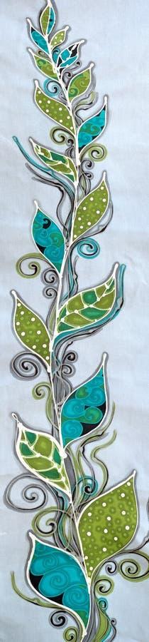 Stor växt för Batiktextilillustration arkivfoton