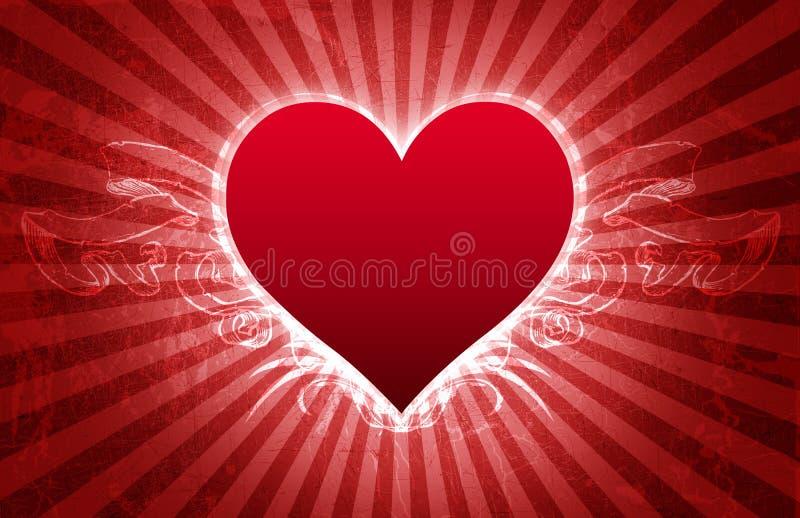 stor valentin för kortgrungehjärta royaltyfri illustrationer