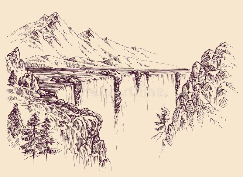 Stor vattenfall på en flod royaltyfri illustrationer
