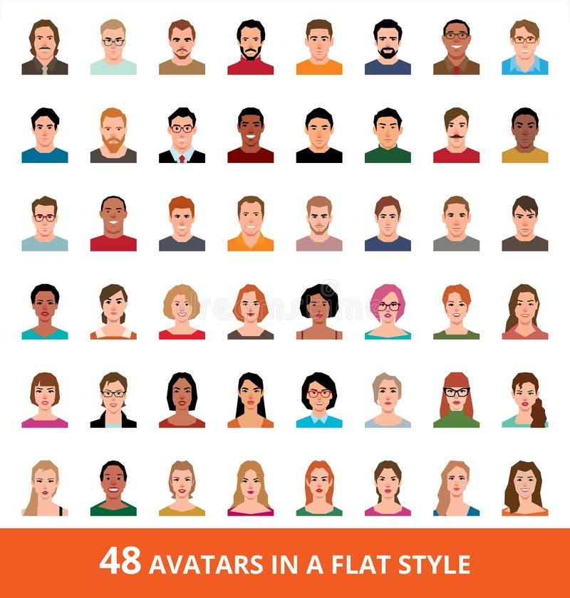 Stor vektoruppsättning av avatars av män och kvinnor i en plan stil stock illustrationer