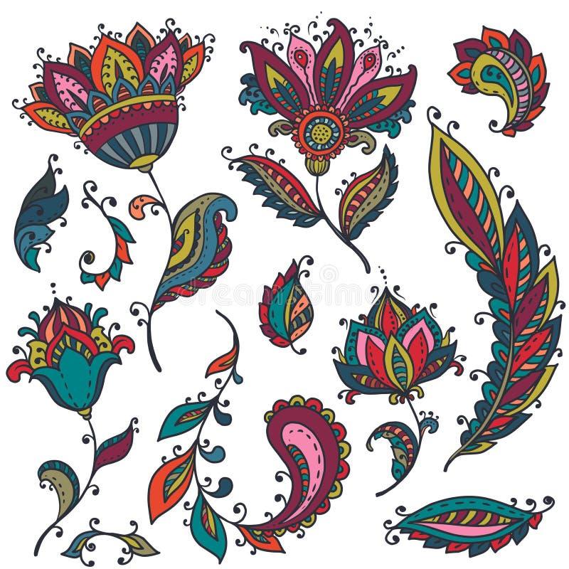 Stor vektoruppsättning av blom- beståndsdelar för färgrik henna stock illustrationer