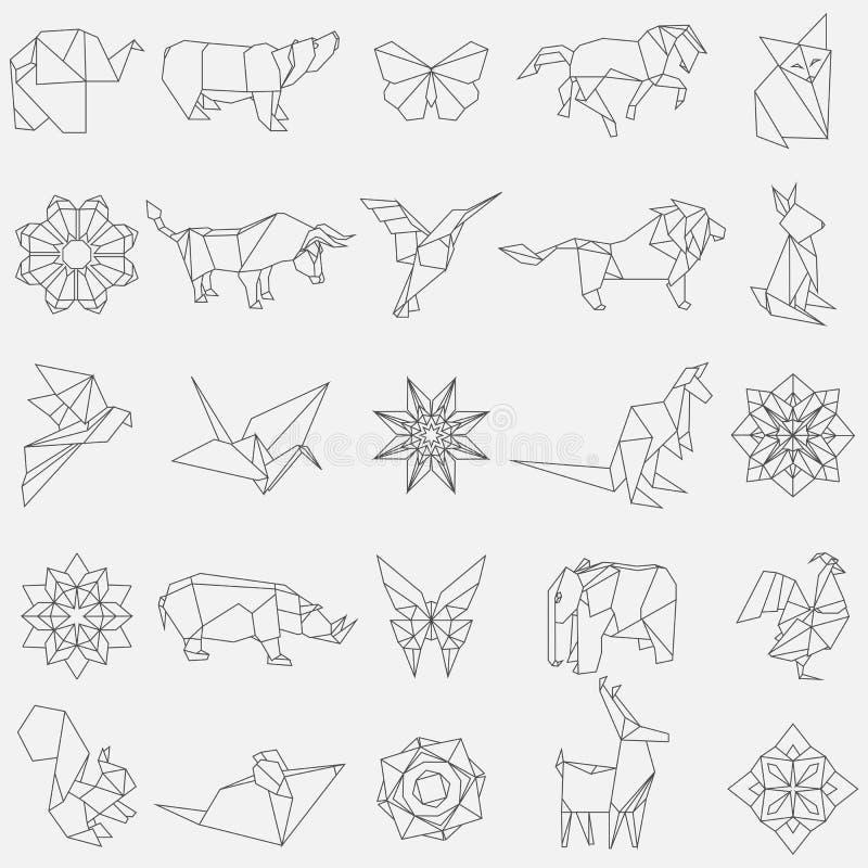 Stor vektoruppsättning av djura origamidiagram fotografering för bildbyråer