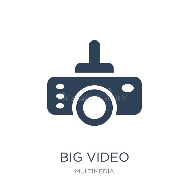stor video projektorsymbol i moderiktig designstil stor video projektorsymbol som isoleras på vit bakgrund stor video projektorve royaltyfri illustrationer