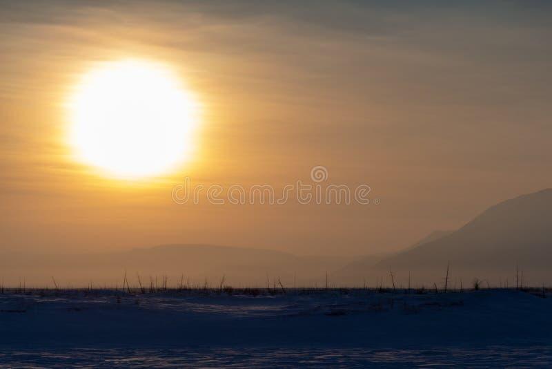Stor vintersol Norilsk fotografering för bildbyråer
