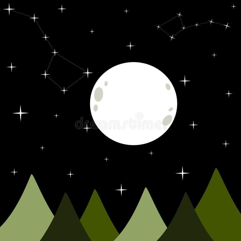Stor vit fullmåne i en svart mörk bakgrundsillustration för stjärnklar natt med ursabjörnkonstellation vektor illustrationer