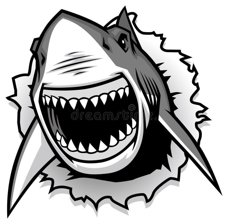 Stor vit haj som river sönder med den öppnade munnen stock illustrationer