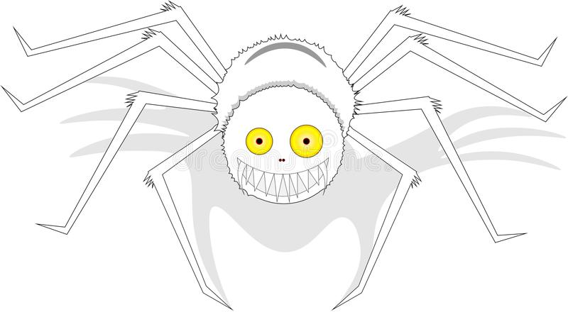 Stor vit le spindel med gulingögon, på isolerad bakgrund royaltyfri illustrationer